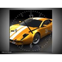 Wandklok op Canvas Auto | Kleur: Geel, Wit, Grijs | F001152C