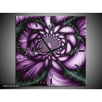 Wandklok op Canvas Modern   Kleur: Paars, Wit   F001155C