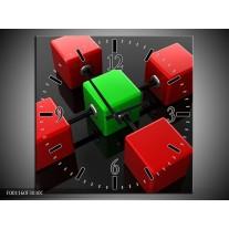Wandklok op Canvas Abstract | Kleur: Rood, Groen, Zwart | F001160C