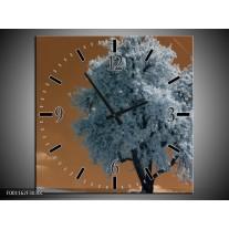 Wandklok op Canvas Boom | Kleur: Wit, Bruin, Zwart | F001162C
