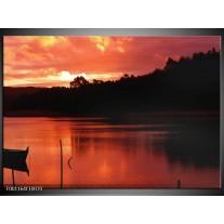 Foto canvas schilderij Zonsondergang | Rood, Zwart, Wit