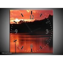 Wandklok op Canvas Zonsondergang | Kleur: Rood, Zwart, Wit | F001164C