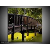 Wandklok op Canvas Brug | Kleur: Groen, Grijs | F001170C