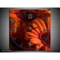 Wandklok op Canvas Bloem | Kleur: Oranje, Zwart, Rood | F001173C