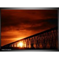 Foto canvas schilderij Zonsondergang | Oranje, Zwart, Wit