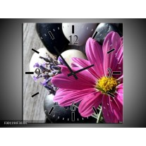 Wandklok op Canvas Bloem | Kleur: Geel, Paars, Wit | F001194C