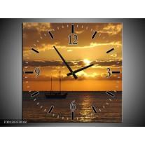 Wandklok op Canvas Zonsondergang | Kleur: Geel, Bruin, Grijs | F001203C