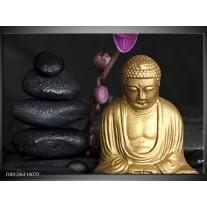 Foto canvas schilderij Boeddha | Goud, Zwart, Paars