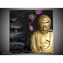 Wandklok op Canvas Boeddha | Kleur: Goud, Zwart, Paars | F001206C