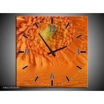 Wandklok op Canvas Bloem | Kleur: Oranje, Grijs | F001224C
