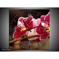 Wandklok op Canvas Orchidee | Kleur: Zwart, Rood | F001227C
