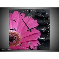 Wandklok op Canvas Bloem | Kleur: Rood, Grijs, Zwart | F001230C