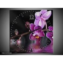 Wandklok op Canvas Orchidee | Kleur: Paars, Zwart, Wit | F001232C