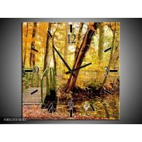 Wandklok op Canvas Natuur   Kleur: Geel, Bruin, Groen   F001235C