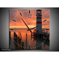 Wandklok op Canvas Zee   Kleur: Bruin, Zwart, Wit   F001244C