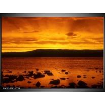 Foto canvas schilderij Zee | Zwart, Geel, Oranje