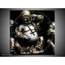 Wandklok op Canvas Boeddha | Kleur: Zwart, Wit, Goud | F001253C