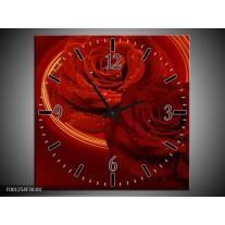 Wandklok op Canvas Roos   Kleur: Rood, Oranje   F001254C