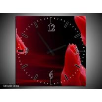 Wandklok op Canvas Bloem | Kleur: Rood, Zwart | F001260C