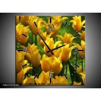 Wandklok op Canvas Tulpen   Kleur: Geel, Groen   F001272C