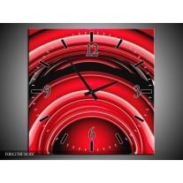 Wandklok op Canvas Abstract | Kleur: Rood, Zwart, Wit | F001278C