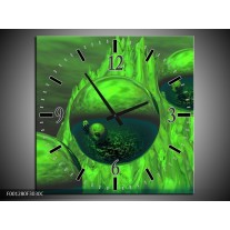 Wandklok op Canvas Abstract | Kleur: Groen, Grijs | F001280C