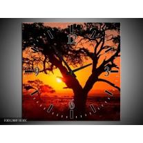 Wandklok op Canvas Zonsondergang   Kleur: Zwart, Geel, Rood   F001288C