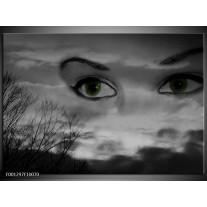 Foto canvas schilderij Ogen | Zwart, Grijs, Wit