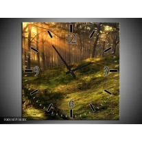 Wandklok op Canvas Natuur | Kleur: Geel, Groen | F001307C