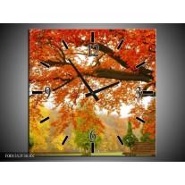 Wandklok op Canvas Herfst | Kleur: Oranje, Groen, Geel | F001312C