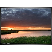 Foto canvas schilderij Zonsondergang | Wit, Geel, Paars