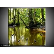 Wandklok op Canvas Natuur | Kleur: Groen, Bruin | F001340C