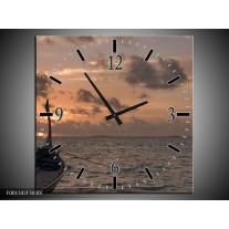 Wandklok op Canvas Zee | Kleur: Grijs, Geel, Grijs | F001342C