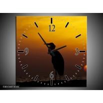 Wandklok op Canvas Vogels | Kleur: Zwart, Geel | F001344C
