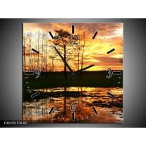 Wandklok op Canvas Natuur   Kleur: Geel, Zwart, Oranje   F001351C