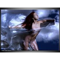 Foto canvas schilderij Vrouw | Geel, Blauw, Zwart