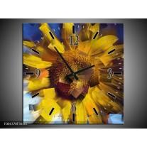 Wandklok op Canvas Abstract | Kleur: Geel, Blauw | F001370C