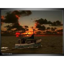 Foto canvas schilderij Boot | Rood, Grijs, Wit