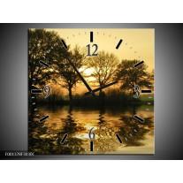 Wandklok op Canvas Natuur   Kleur: Zwart, Geel   F001378C