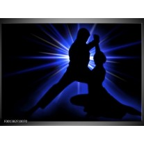 Glas schilderij Dansen | Zwart, Blauw, Wit