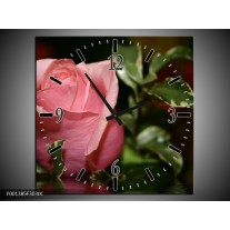 Wandklok op Canvas Roos | Kleur: Rood, Groen, Zwart | F001385C