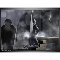 Glas schilderij Abstract | Grijs, Zwart