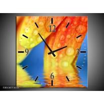 Wandklok op Canvas Druppels | Kleur: Geel, Blauw, Oranje | F001387C