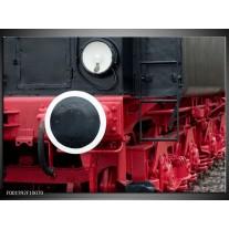Foto canvas schilderij Trein | Rood, Zwart, Wit