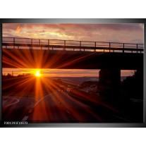 Glas schilderij Zonsondergang | Geel, Oranje, Zwart