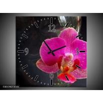 Wandklok op Canvas Orchidee | Kleur: Rood, Zwart, Grijs | F001396C