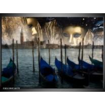 Glas schilderij Venetië | Grijs, Goud, Blauw
