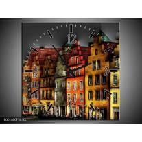 Wandklok op Canvas Gebouw | Kleur: Rood, Geel, Grijs | F001400C