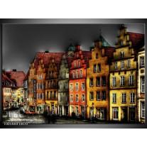 Glas schilderij Gebouw | Rood, Geel, Grijs