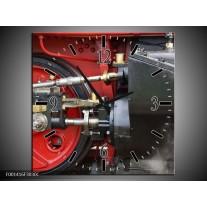 Wandklok op Canvas Trein | Kleur: Rood, Zwart, Grijs | F001416C